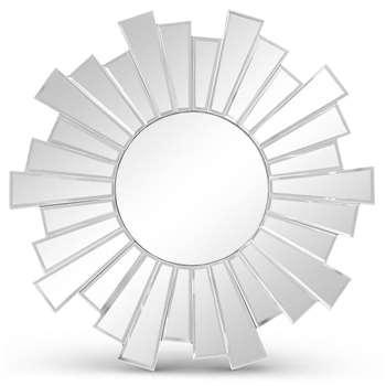 Small Sunburst Mirror, Silver (H50 x W50 x D1.5cm)