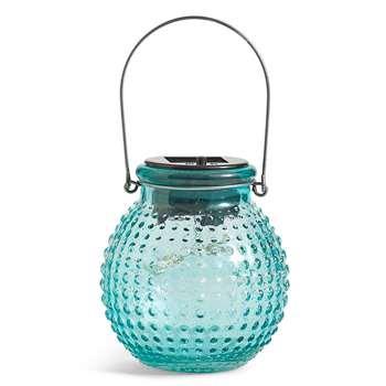 Small Turquoise Solar Jar Light (13.5 x 11cm)