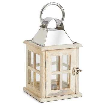 Small Wooden Lantern, White (H26.5 x W15.5 x D15.5cm)