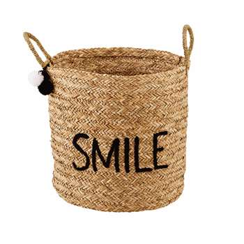 SMILE JOY Basketwork Embroidered Basket (43 x 45cm)