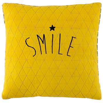 SMILE yellow/grey cushion (40 x 40cm)