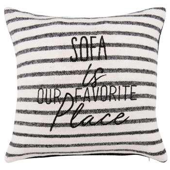 SOFA Printed Ecru Cotton Cushion Cover (H40 x W40cm)