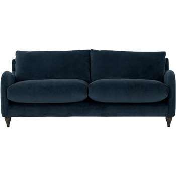 Sofia 3 Seater Sofa,  Plush Indigo Velvet (83 x 195cm)
