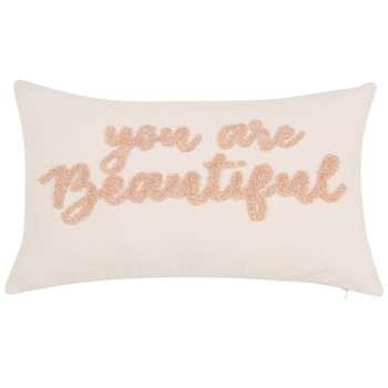 SOFIA - Printed Ecru and Pink Cotton Cushion Cover (H30 x W50cm)