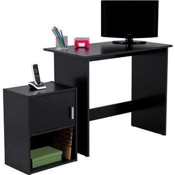 Soho Office Desk and Cabinet Package - Black (75 x 80cm)