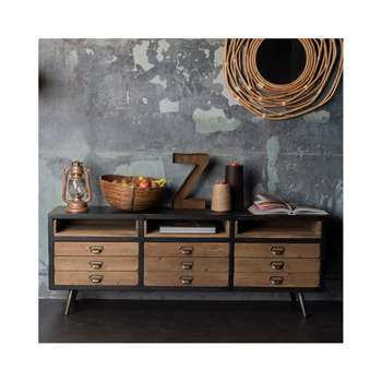 Dutchbone Sol Sideboard with Pine Drawers in Vintage Finish (H58 x W155 x D40cm)
