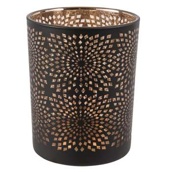 SOLAIRE - Black and Copper Openwork Glass Tea Light Holder (H12.5 x W10 x D10cm)