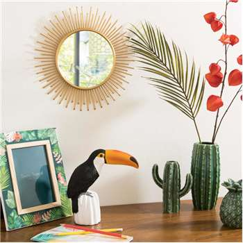 SOLANE Round Metal Mirror in Gold (31 x 31cm)