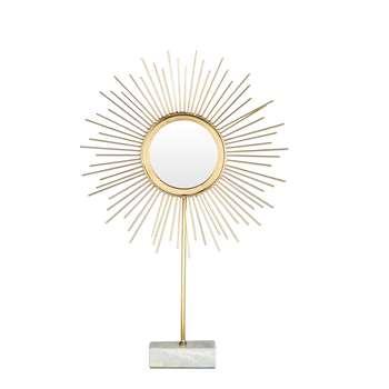SOLEADO Gold Metal and Marble Tabletop Sunburst Mirror (62 x 39cm)