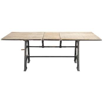 MANIVELLE Industrial Solid Mango Wood and Metal Extending Dining Table (78 x 180-220cm)