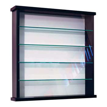 Solid Wood and Glass Display Unit - Black 51 x 50.3cm