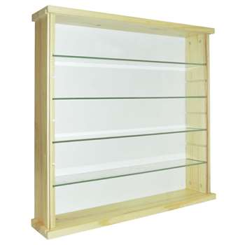 Solid Wood and Glass Display Unit - Pine 51 x 50.3cm