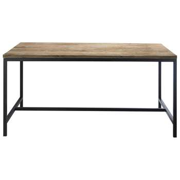 LONG ISLAND Solid wood and metal industrial dining table W 150cm Long