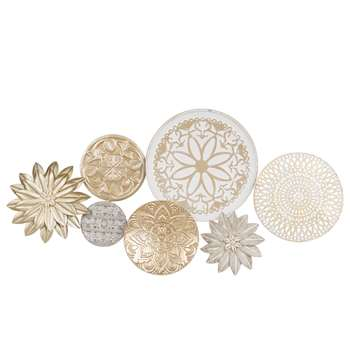 SOLINE Gold and White Metal Wall Art (44 x 90cm)