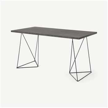 Solly Desk, Concrete Effect & Black Steel (H75 x W140 x D75cm)