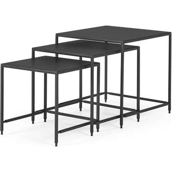 Solomon Nest of 3 Side Tables, Black (H45 x W45 x D45cm)