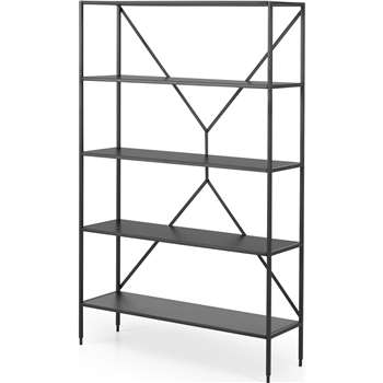 Solomon Wide Shelving Unit, Black (H160 x W100 x D30cm)