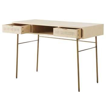 SOLSTICE - 2-Drawer Woven Rattan Desk (H78 x W115 x D50cm)