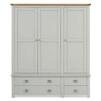 Somerset Oak and Grey 3 Door 4 Drawer Wardrobe (193 x 163cm)
