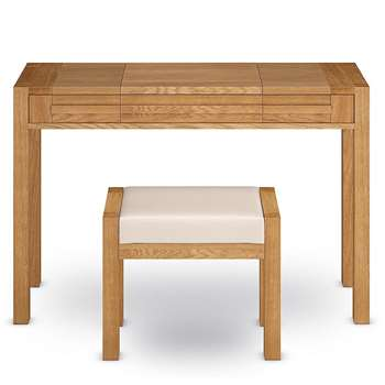Sonoma Dressing Table & Stool, Oak (H80 x W120 x D45cm)