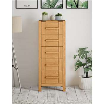 Sonoma Tall 5 Drawer Chest, Oak (H131 x W50 x D46cm)