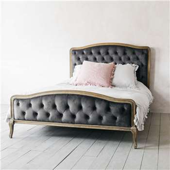 Sophia Grey Velvet King Size Bed (H136 x W167.5 x D233.5cm)