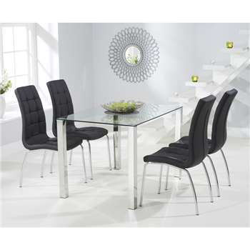 Sophie 120cm Glass Dining Table with Calgary Chairs - Black, 4 Chairs (H76.5 x W120 x D80cm)