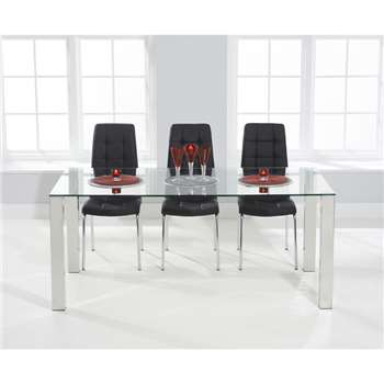 Sophie 180cm Glass Dining Table with Calgary Chairs - Black, 4 Chairs (H76.5 x W180 x D90cm)