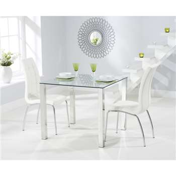 Sophie 90cm Glass Dining Table with Calgary Chairs - Ivory, 2 Chairs (H76 x W90 x D90cm)
