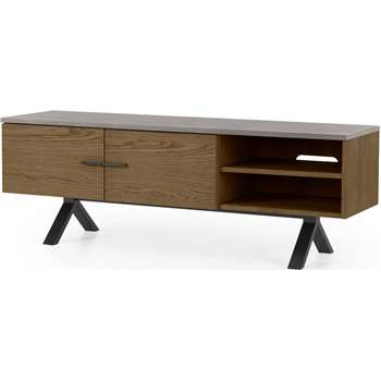 Sora Wide Media Unit, Smoked Oak & Concrete (H49 x W140 x D40cm)