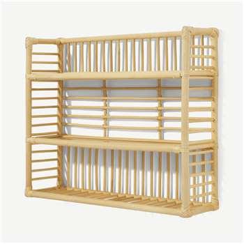 Soren Square Wall Shelf Unit, Natural Rattan (H50 x W60 x D15cm)