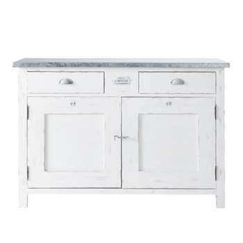 SORGUES White Wood 2-Door 2-Drawer Sideboard (H85 x W125 x D45cm)