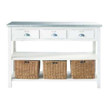 SORGUES Wood and metal console table in white (Width 130cm)