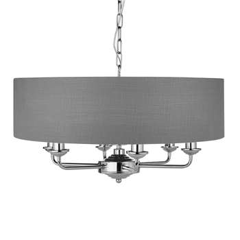 Sorrento 6 Arm Nickel Ceiling Pendant with Pale Charcoal Shade (43 x 56cm)