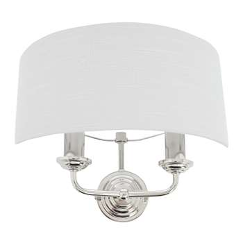 Sorrento Chrome Wall Light with Silver Shade (H25 x W18 x D18cm)
