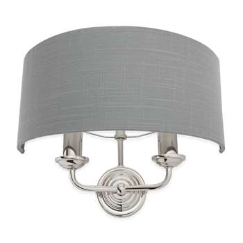 Sorrento Nickel/Charcoal 2 Arm Wall Light