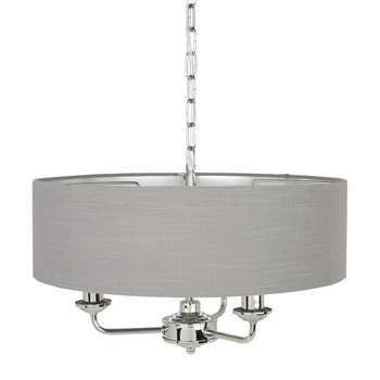 Sorrento Nickel /Charcoal 3 Arm Chandelier