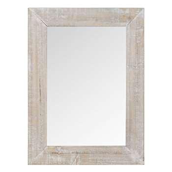 SOUTHPORT - Whitewashed Fir Wood Mirror (H75 x W55 x D1.5cm)