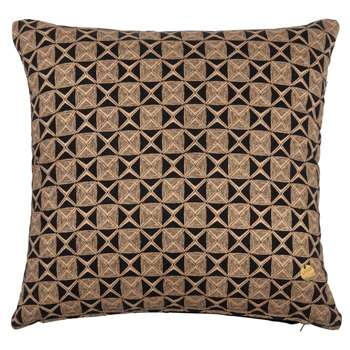 SOWETO Printed Black and Light Brown Cotton Cushion Cover (H40 x W40cm)