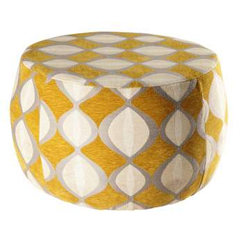 SPACE Mustard and beige jacquard pouffe (35 x 59cm)