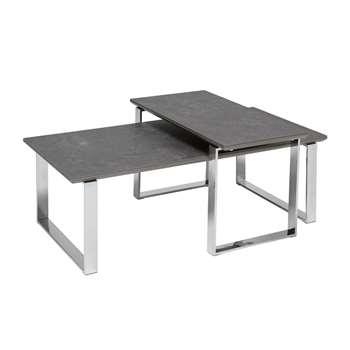 Span ceramic coffee table set slate (H37 x W115 x D55cm)