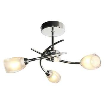 Spike 3 Light Semi Flush Ceiling Light (H19 x W34 x D34cm)