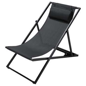 SPLIT Charcoal Grey Canvas and Metal Folding Deckchair (85 x 60 x 104cm)