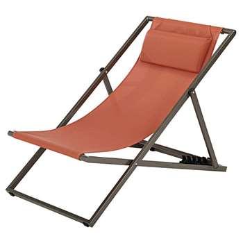 SPLIT Orange Canvas and Metal Folding Deckchair (94 x 64 x 105cm)