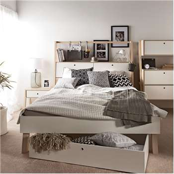 Spot Double Bed with Cabinet Headboard in White and Acacia - Superking 106.5 x 213cm