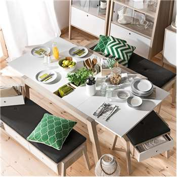 Vox Spot Extending Dining Table in Acacia and White (76 x 146-198cm)