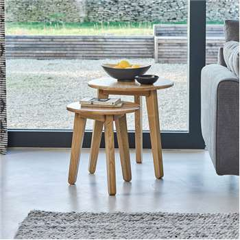 SPOT Natural Oak Nest of Tables (H53 x W50 x D50cm)