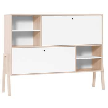 Spot Sideboard with Shelves & 2 Cupboards in Acacia and White 122 x 160cm