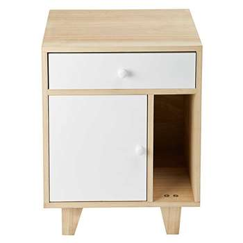 SPRING 1-Door 1 Drawer Bedside Table in White Paulownia (H54 x W42 x D30cm)