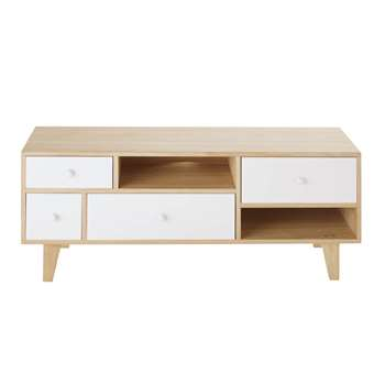 SPRING - Scandinavian-Style 4-Drawer TV Unit in White Paulownia (H45 x W110 x D35cm)